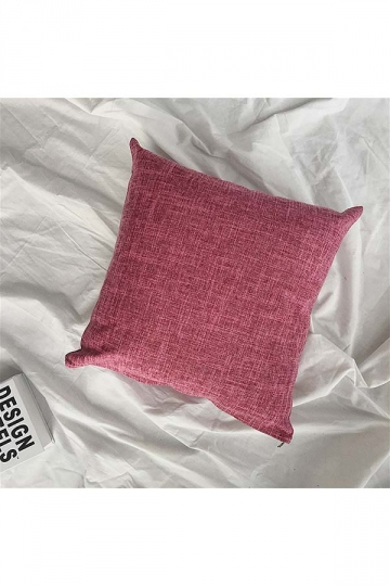 Homey Cozy Cotton Linen Plain Throw Pillow Cover Ruby 18x18in