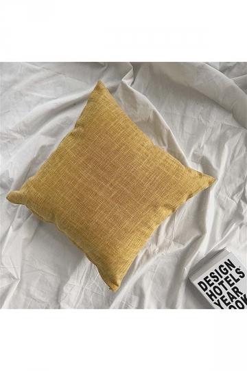 Homey Cozy Cotton Linen Plain Throw Pillow Cover Yellow 18x18in