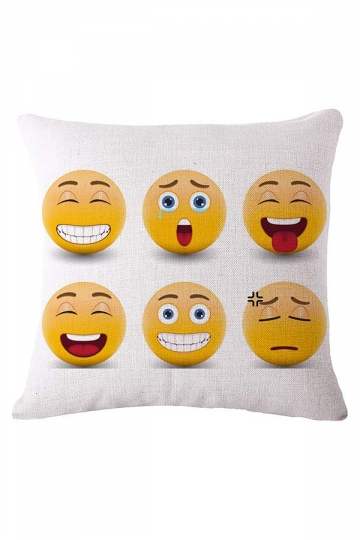 Cozy Emoji Printed Decorative Throw Pillow Cover White 18x18in