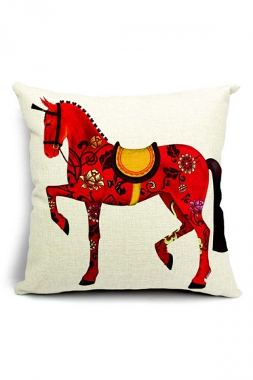 Vintage Royal Retro Horse Printed Throw Pillow Cover White 18x18in