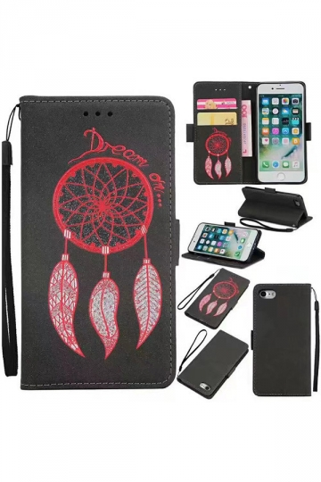 Black Aeolian Bells Printed PU Leather Flip Wallet Case for iPhone