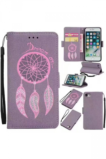 Purple Anti-Scratch Kickstand PU Leather Flip Wallet Case for iPhone