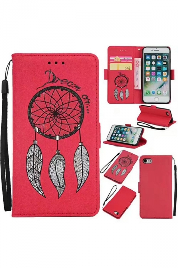 Red Kickstand With Lanyard PU Leather Flip Wallet Case for iPhone