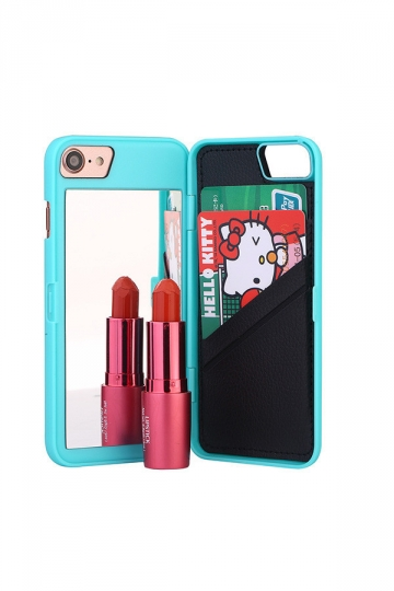 Blue Cosmetic Mirror With Card Slot Kickstand Wallet Case for iPhone