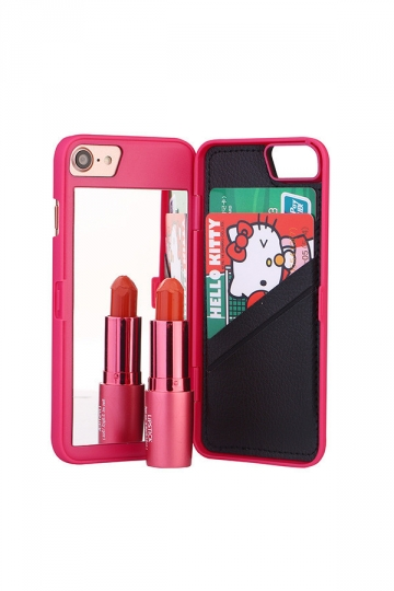 Rose Red Cosmetic Mirror Kickstand All-In-One Wallet Case for iPhone