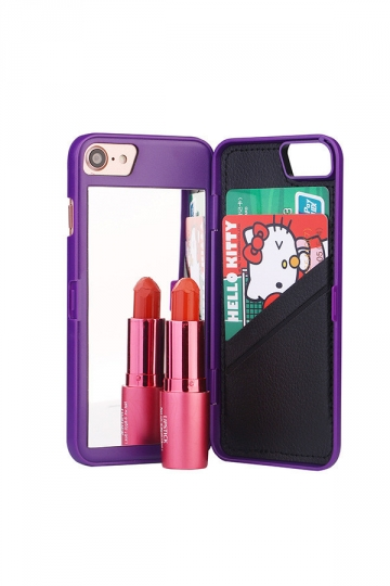 Purple Cosmetic Mirror With Card Slot Kickstand Wallet Case for iPhone