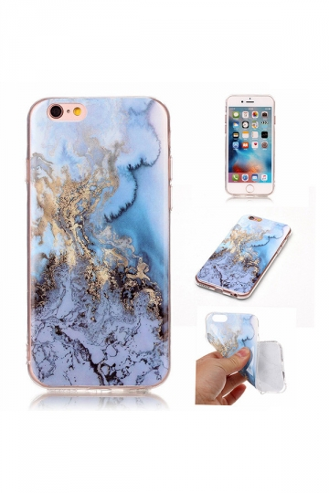 Blue Thin Anti-Finger Print TPU Marble Pattern Soft Case for iPhone