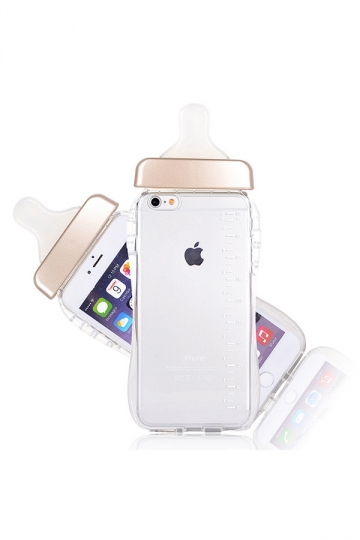 Gold Cute Baby Nipple Milk Bottle Soft Transparent TPU Case for iPhone