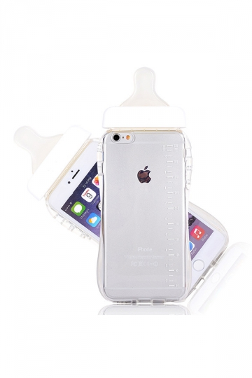 White Cute Baby Nipple Milk Bottle Soft Transparent TPU Case for iPhone