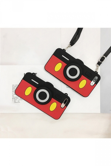 Red Soft Silicone Cute Mickey Mouse Camera With Strap Case for iPhone