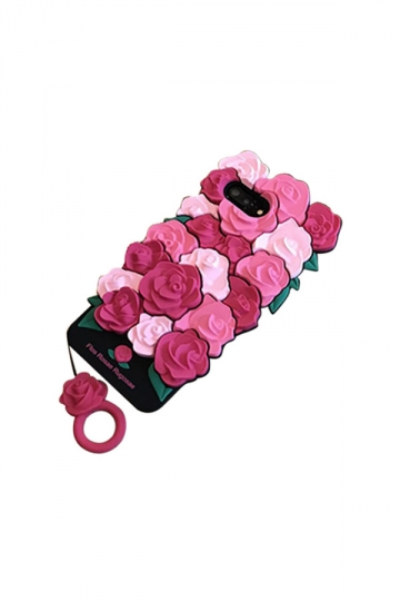 Red Unique Dust Proof Silicone With Ring Rose Flower Case for iPhone
