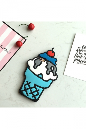 Blue Cherry Summer Ice Cream Cone Protective Silicone Case for iPhone