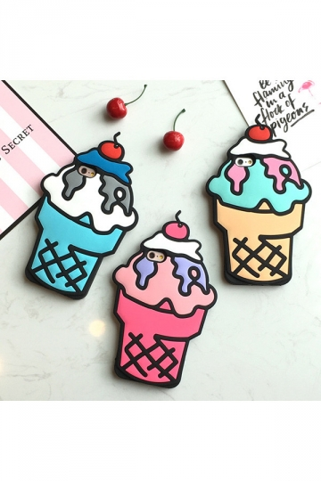 Rose Red Cherry Ice Cream Cone Protective Silicone Case for iPhone