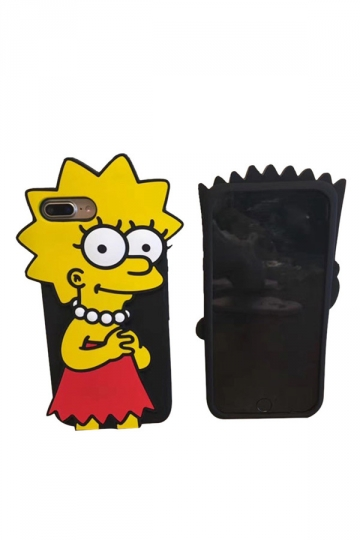 Red Durable Anti-Scratch Soft Silicone Bart Simpson Case for iPhone