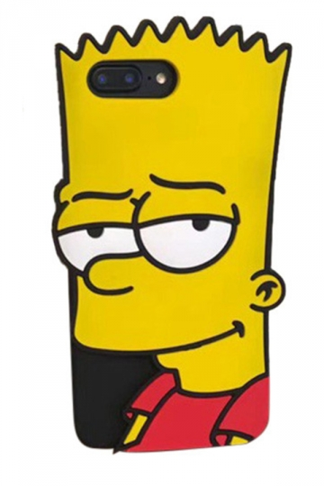 Yellow Durable Anti-Scratch Soft Silicone Bart Simpson Case for iPhone