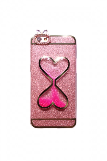 Pink Dust Proof Sand Clock Glitter With Rhinestones Case for iPhone