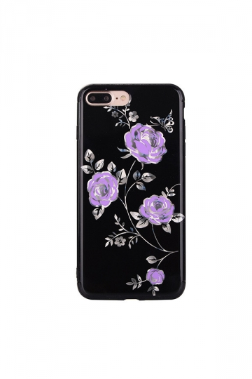 Purple Dust Proof Rose Flower Embroidery Soft Silicone Case for iPhone