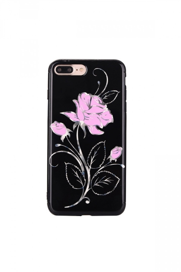 Pink Dust Proof Rose Flower Embroidery Soft Silicone Case for iPhone