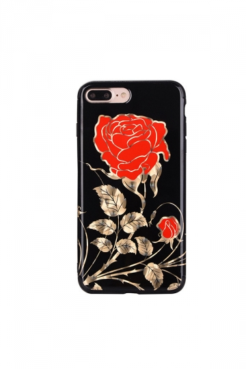 Red Dust Proof Rose Flower Embroidery Soft Silicone Case for iPhone