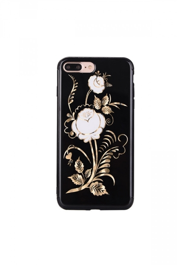 White Dust Proof Rose Flower Embroidery Soft Silicone Case for iPhone