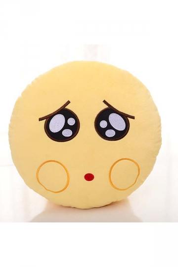Emoji Whimper Expression Stuffed Plush Throw Pillow 12.6x12.6x5.2in