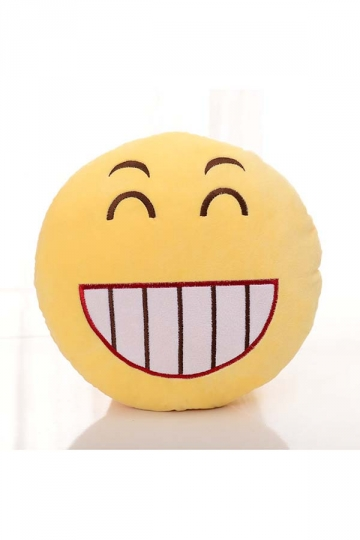 Emoji Grin Face Soft Bed Decorations Throw Pillow 12.6x12.6x5.2in