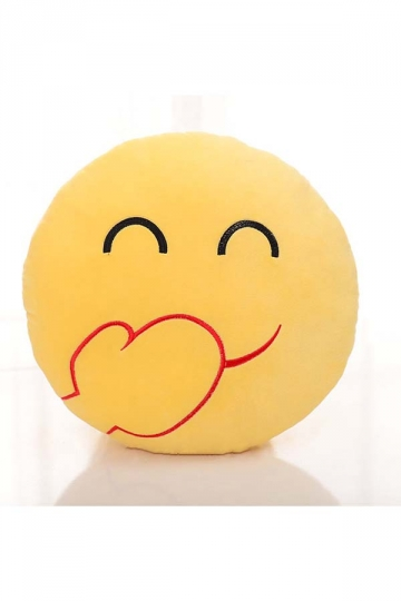 Emoji Chuckle Face Round Cushion Soft Throw Pillow 12.6x12.6x5.2in