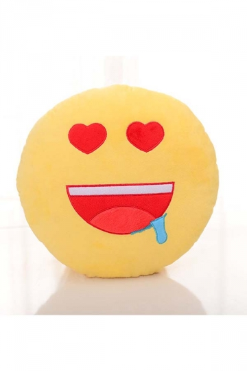 Cute Emoji Drool Face Round Cushion Soft?Throw Pillow 12.6x12.6x5.2in
