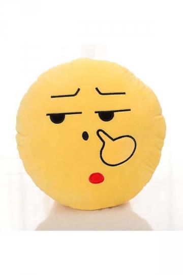 Emoji Nosepick Expression Round Soft Throw Pillow 12.6x12.6x5.2in
