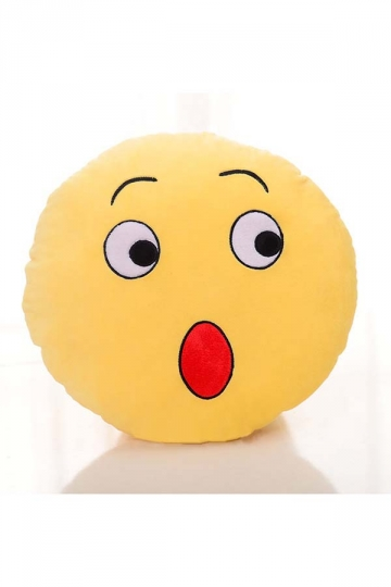 Emoji Surprise Expression Round Soft Throw Pillow 12.6x12.6x5.2in