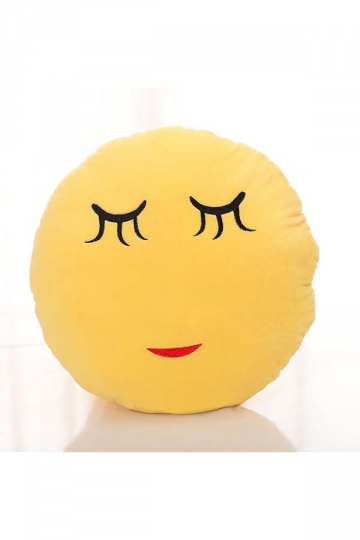 Cute Emoji Shy Face Sofa Decoration Soft Throw Pillow 12.6x12.6x5.2in