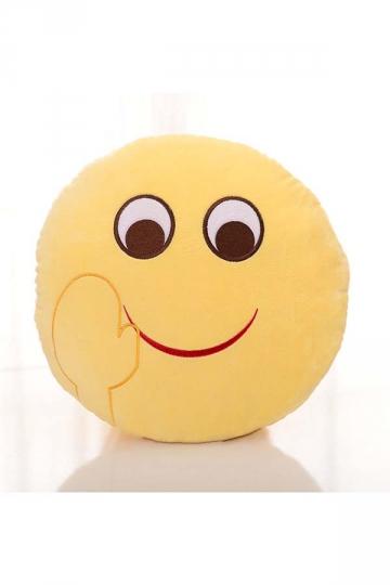 Cute Emoji Bye Face Round Cushion Soft Throw Pillow 12.6x12.6x5.2in