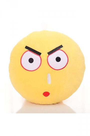Emoji Scowl Face Sofa Decoration Soft Throw Pillow 12.6x12.6x5.2in