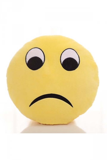 Emoji Frown Face Sofa Decoration Soft Throw Pillow 12.6x12.6x5.2in