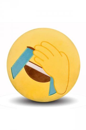 Emoji Facepalm Expression Round Soft Throw Pillow 12.6x12.6x5.2in