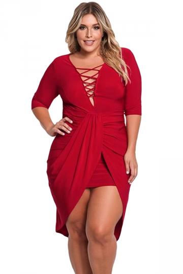 Womens Criss-cross Deep V Neck Slit Plus Size Bodycon Midi Dress Red