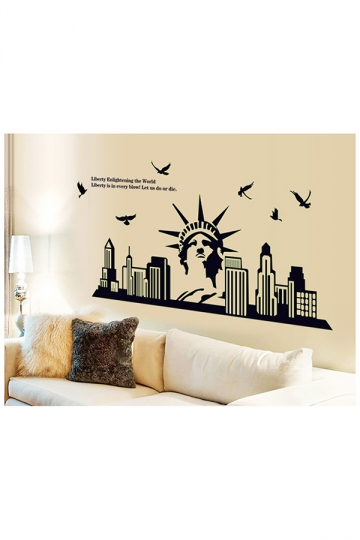 New York Skyline Statue Of Liberty Fluorescent Wall Stickers Black