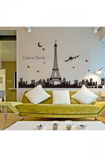 Paris Eiffel Tower Fluorescent Wall Stickers 3D Decals Black