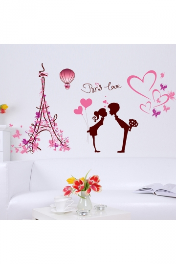 Removable Paris Eiffel Tower Love Wall Stickers Pink