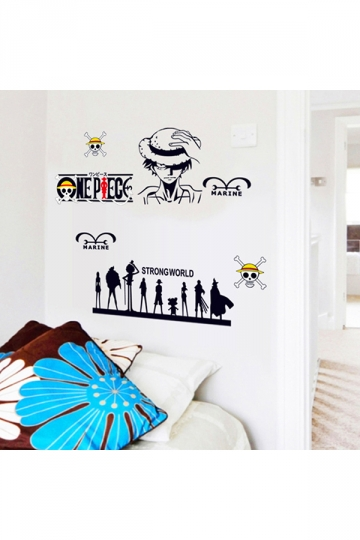 One Piece Cartoon Character Removable Wall Stickers Black