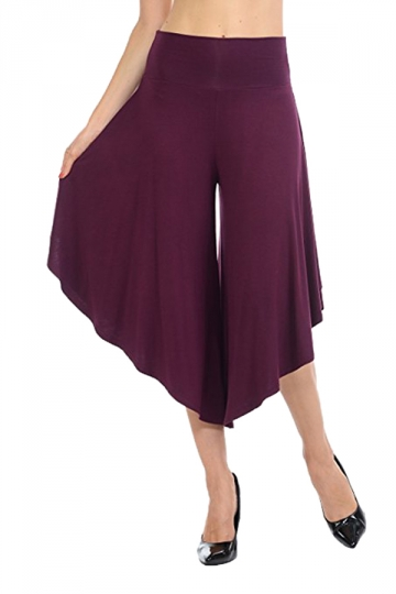 High Waist Wide Legs Asymmetrical Hem Leisure Capri Pants Dark Purple