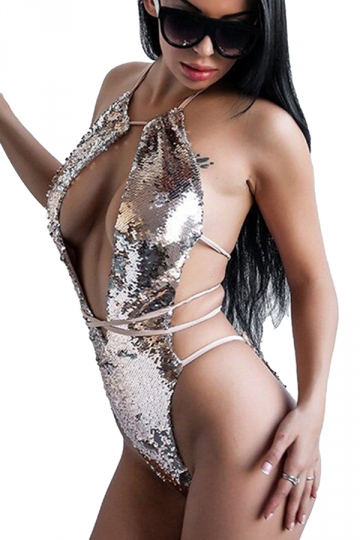 Halter Lace Up Cut Out Backless Sequined One Piece Swimsuit Silvery