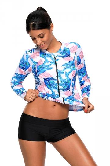 Crew Neck Leaf Print Zipped Long Sleeve Tankini Swimsuit Blue