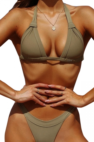 Sexy Halter Back Tie Top&High Cut Bottoms Plain Bikini Set Olive Green