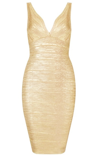 Gold Sexy Ladies V Neck Zipper Sleeveless Retro Evening Dress
