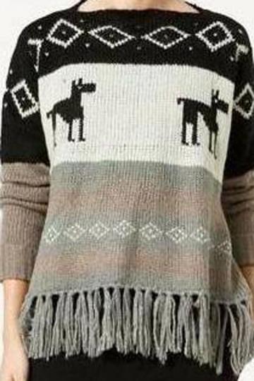 Oversized Striped Deer Pattern Fringe Women Christmas Jumper Sweater