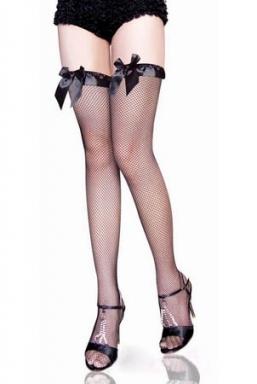 Ribbon Top Fishnet Black Stockings