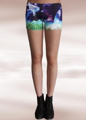 Green Glass Galaxy Print Shorts