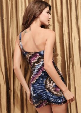 Tight One-shoulder Floral-Blue Mini Dress