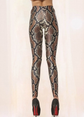 Coffee Snake Animal Print Leggings